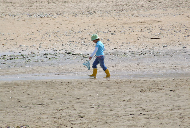 Child on the beach with scoop-net