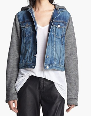 Rag & Bone JEAN, Rag & Bone JEAN Hooded Jean Jacket, denim jacket, jean jacket, denim sweatshirt jacket, denim vest, trends, fashion trend, trend spotting