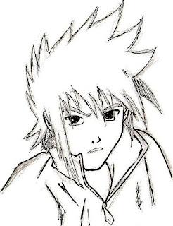 Portrait de Sasuke crayonné et encré par Juju Gribouille