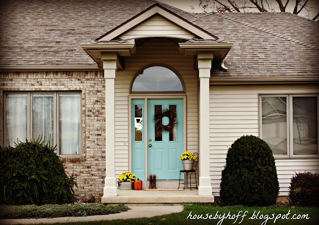 light blue front door