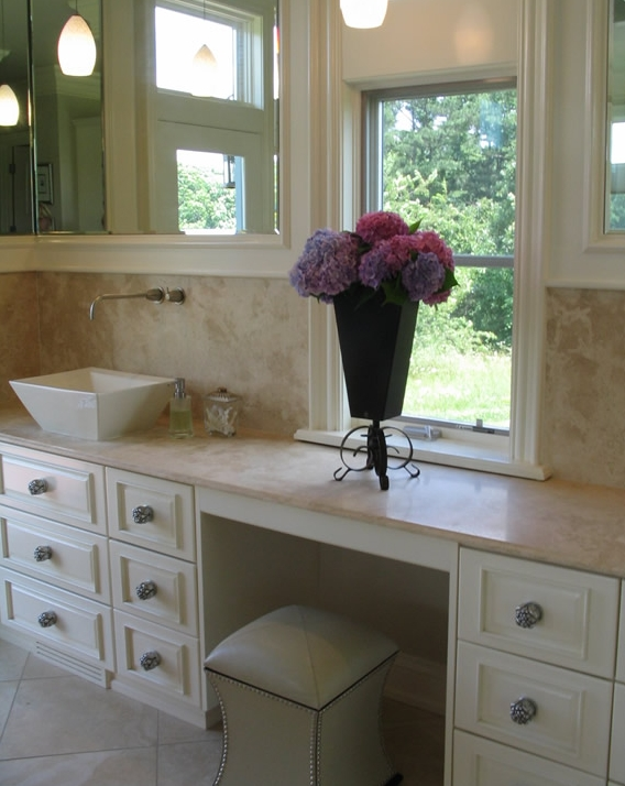 i prefer the first look i think it goes better with the soothing soft spa  feel. Double Vanity With Makeup Station ... - Double Vanity With Makeup Station Show Home Design