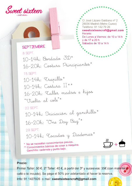 Talleres Monográficos Septiembre 2012 Sweet sixteen craft store. Madrid