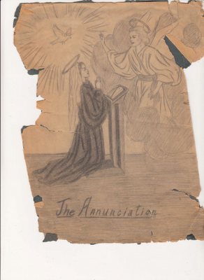 """The Annunciation,"" undated sketch by Mary Ann Corsino"