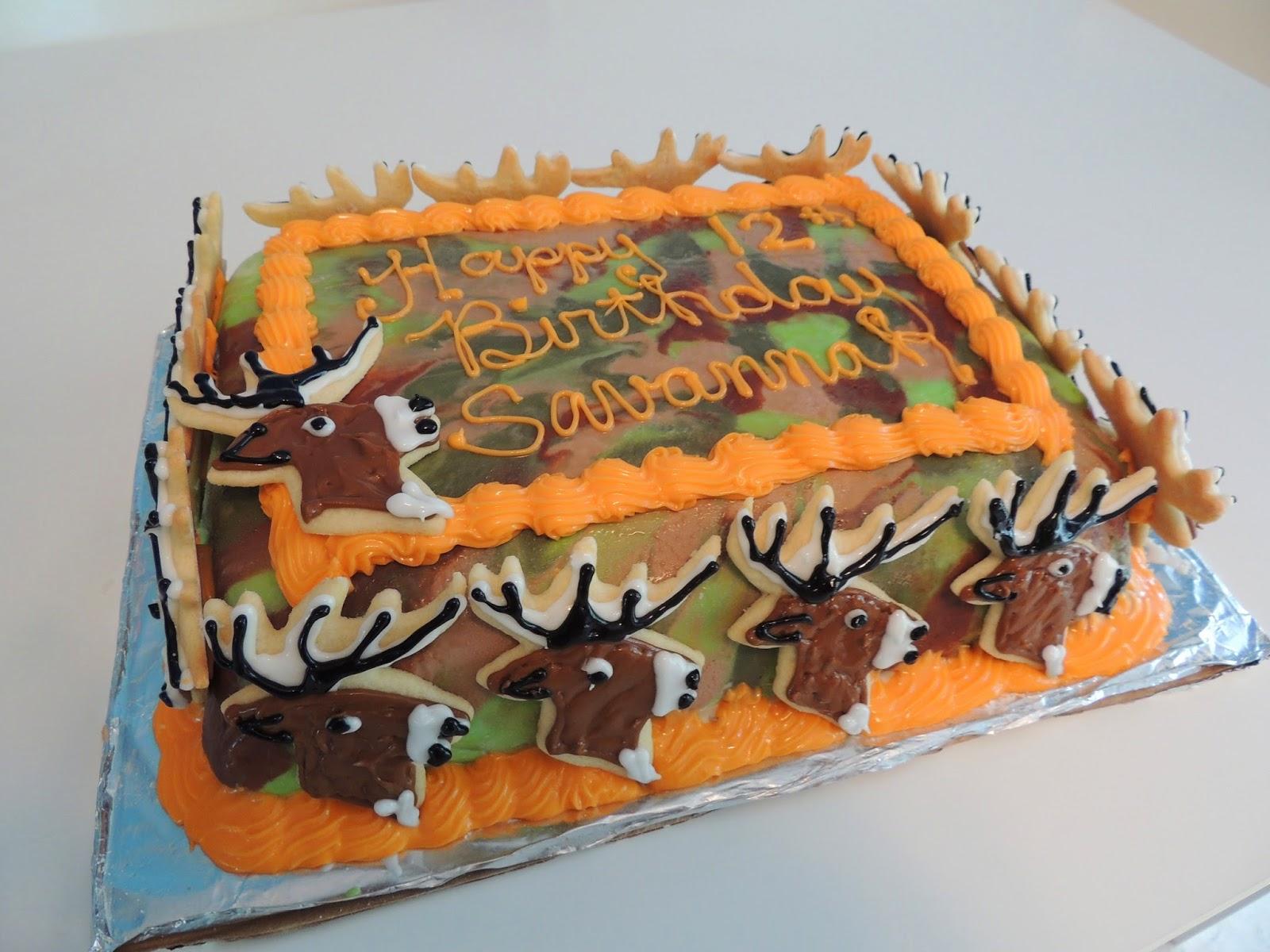 Camo And Orange Birthday Cakes