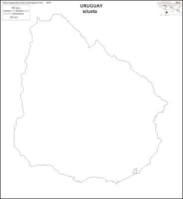 Mapa mudo de URUGUAY, silueta