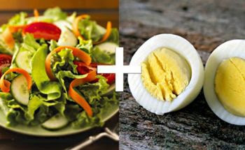Trứng gà với salad