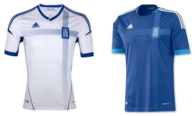 Greece Home+Away Euro 2012 Kits (Adidas)
