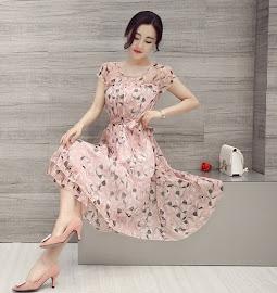 Dust Pink/Gray Leaf Print Chiffon Flare Waist Past Knee Length Dress