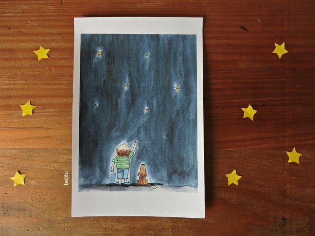 Counting stars by betitu - watercolor print