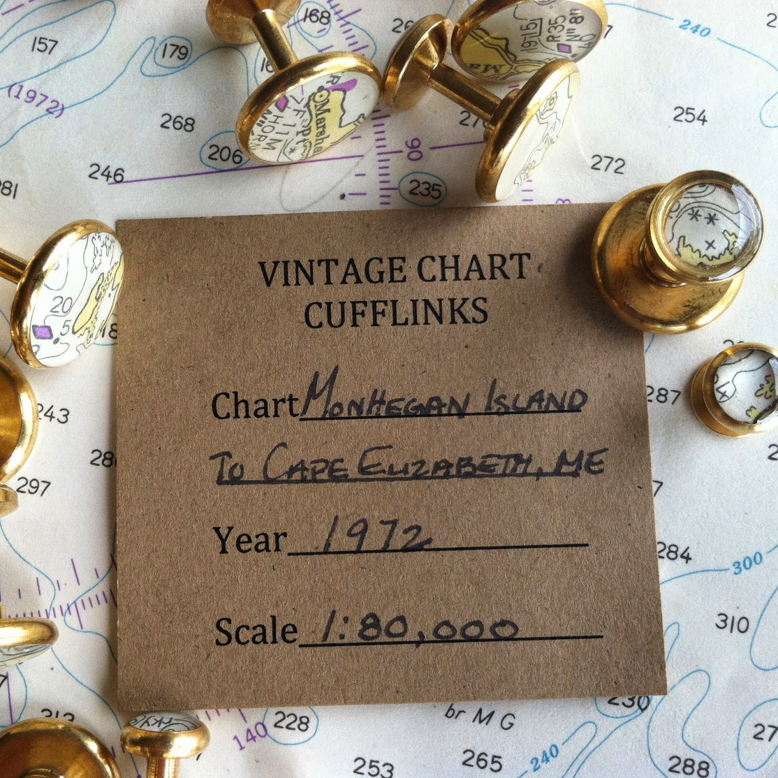 York River Traders nautical chart cufflinks and tuxedo studs
