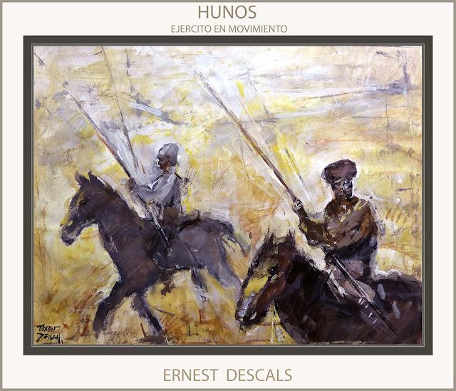HUNOS-EJERCITO-PINTURAS-MOVIMIENTO-SOLDADOS-LANCEROS-COLECCION-PINTURA-ARTISTA-PINTOR-ERNEST DESCALS-