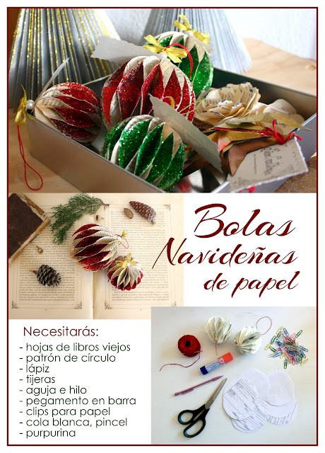 DIY Bolas Navideñas de papel y purpurina.