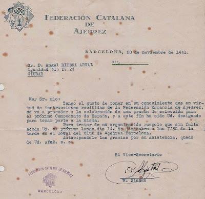 Ángel Ribera designado para una prueba de selección para el Campeonato de España 1942