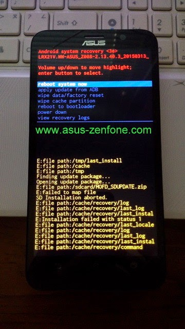 Zenfone 2 How To Enter Recovery Wipe Data Wipe Cache