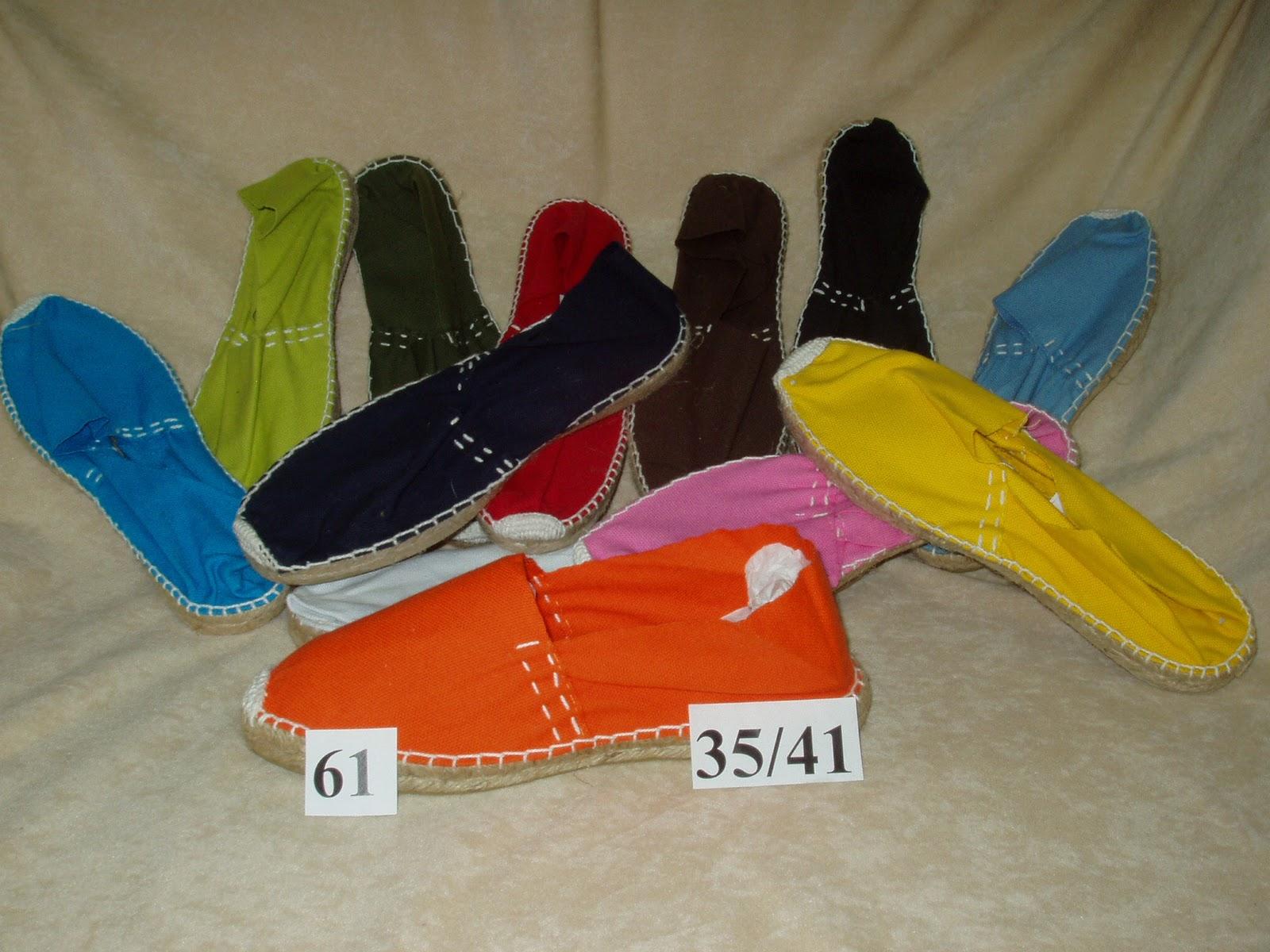Nuestras Alpargatas para Bodas la numeración de Señora es del 35 al 41 y los colores son naranja, amarillo, blanco, negro, marino, celeste, turquesa,