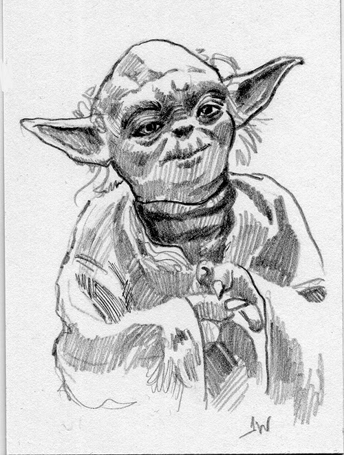Yoda Sketch Card by Jeff Ward