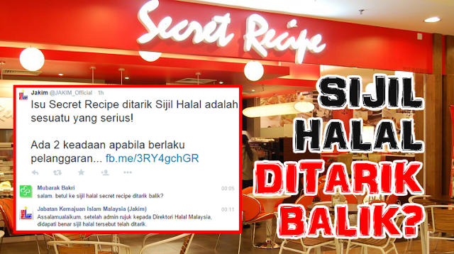 Kerja -kerja naik taraf dapur punca Sijil Halal Secret Recipe ditarik
