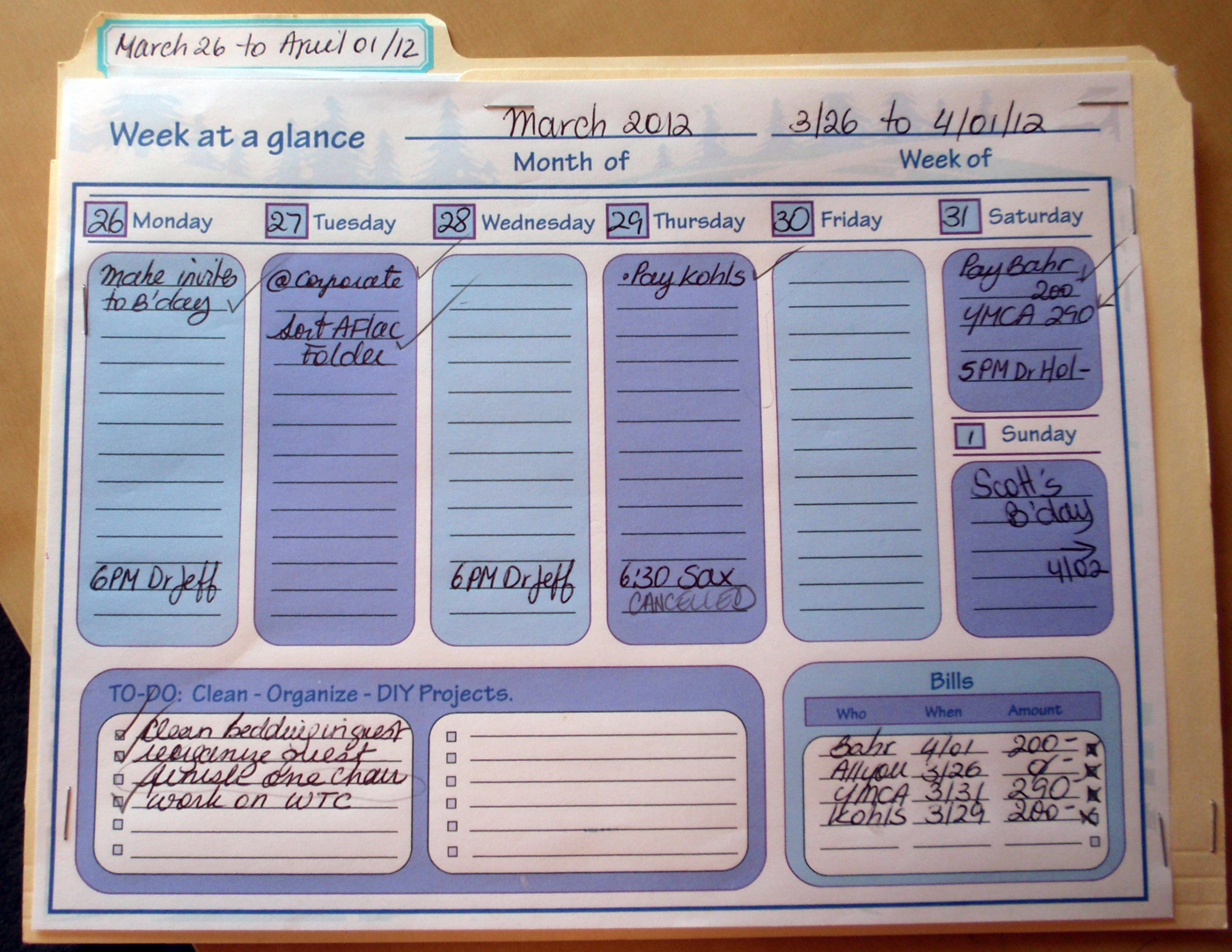 Home Organization Calendar System : My great challenge home management filing system