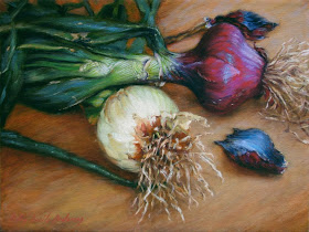 Painting:  Artist Robin Lucile Anderson - Purple and White Onions