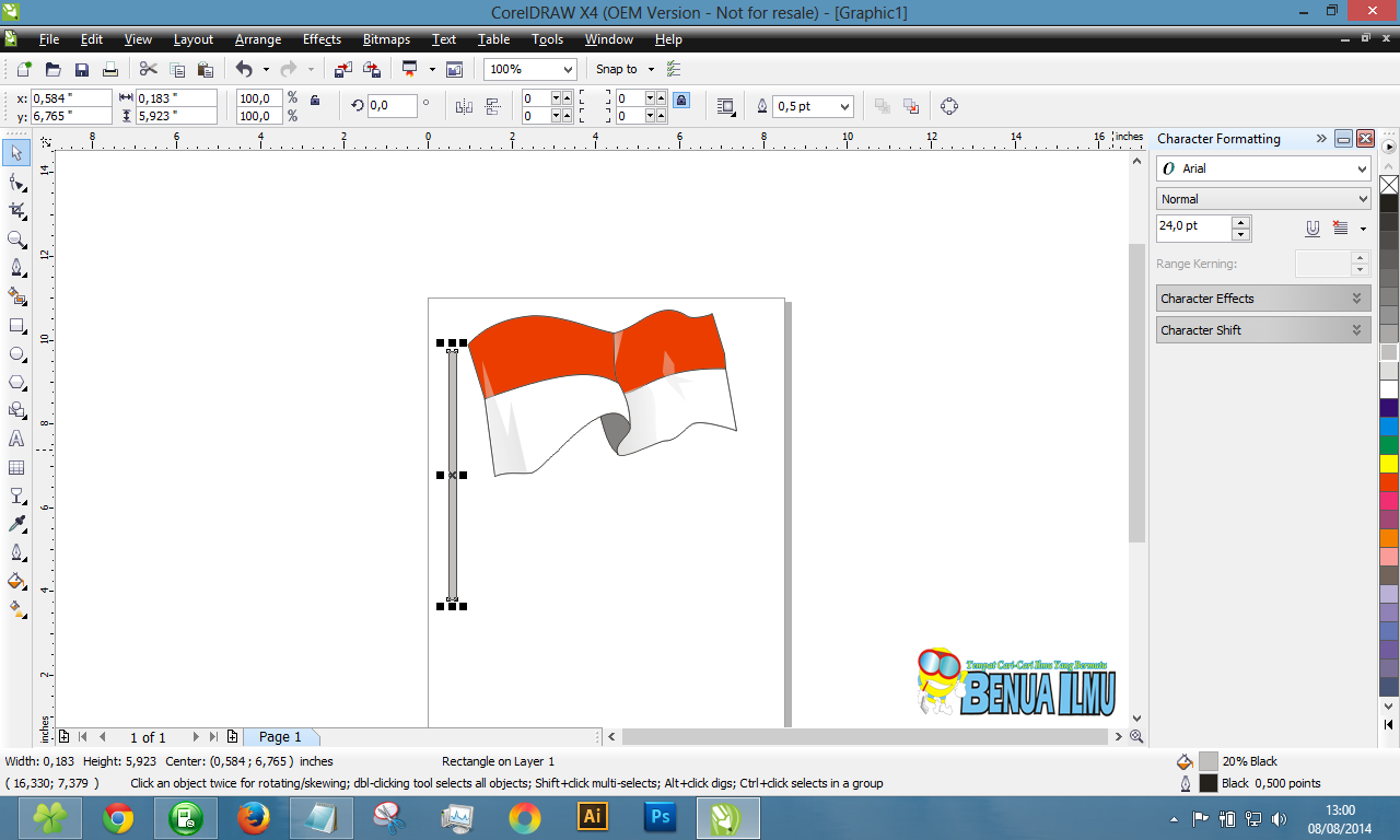 Membuat tiang bendera corel draw
