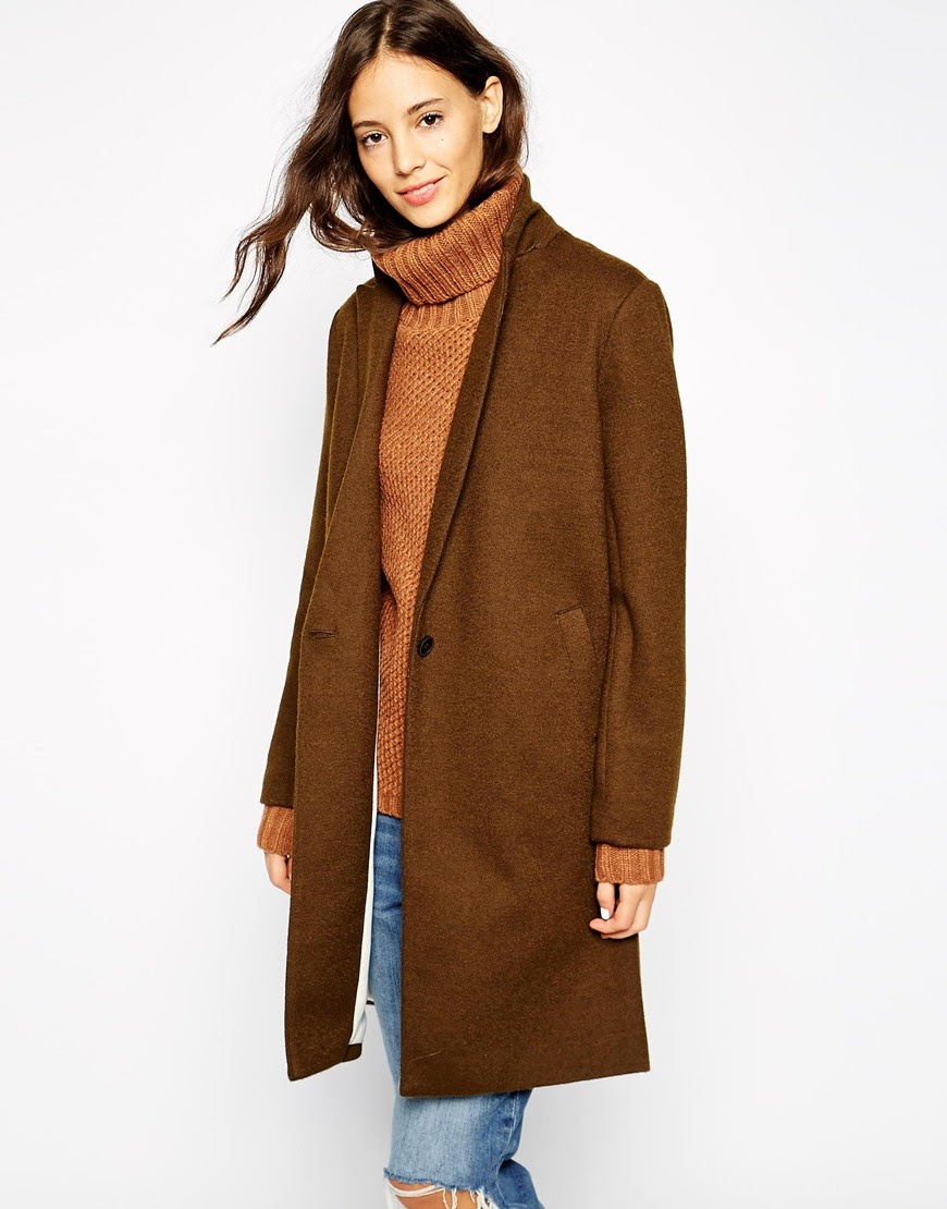 tan car coat, pull and bear tan coat, tan wool coat,