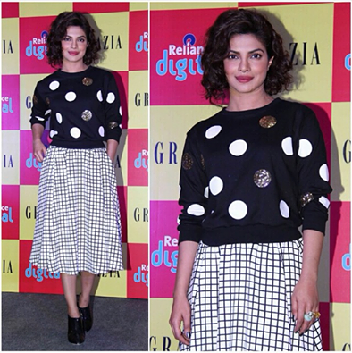 Priyanka Chopra spotted at the Grazia cover launch