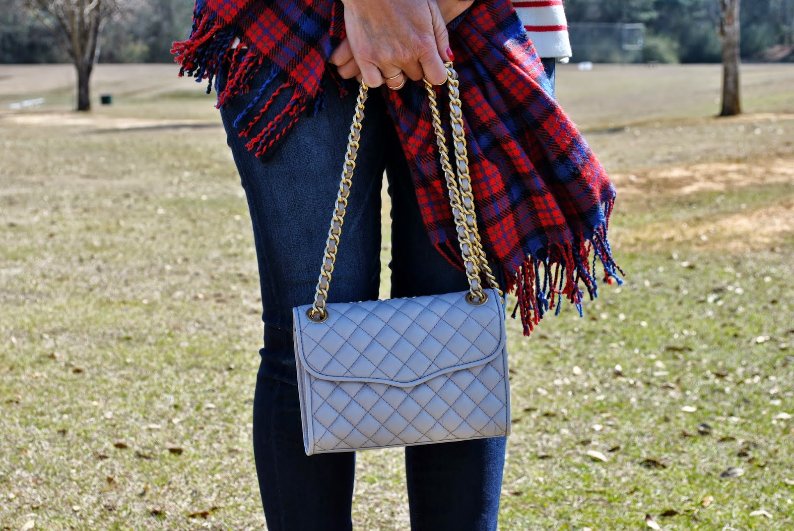 J Crew Striped Sweater, J Crew plaid Scarf, Rebecca Minkoff Quilted Affair Handbag, Madewell Skinny Jeans, Sunshine and Sequins Blog