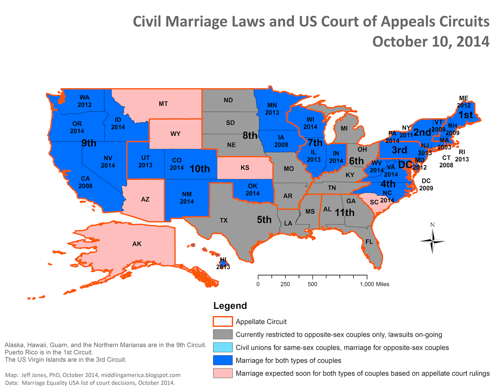 Middling America October - Us court circuit map