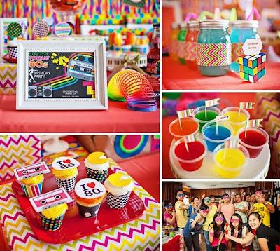 Decoraci n de fiestas retro a os 39 80 con muchos colores ideas deco fiestas - Decoracion fiesta 80 anos ...
