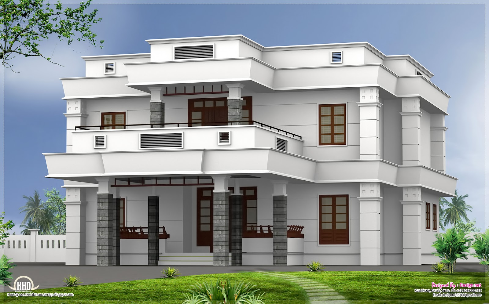 5 bhk modern flat roof house design home kerala plans for Flat roof elevation