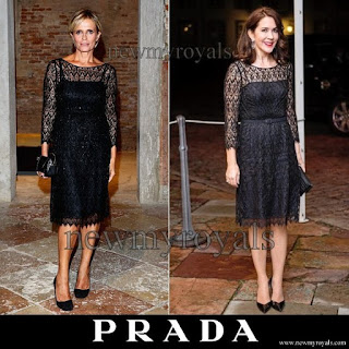Crown Princess Mary wore Prada Black Lace Dress