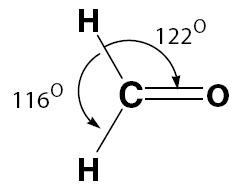 Sudut ikatan H-C-H berbeda dengan H-C = O
