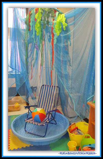 Ocean Themed Reading Corner from Ocean RoundUP with DOZENS of ideas at RainbowsWithinReach