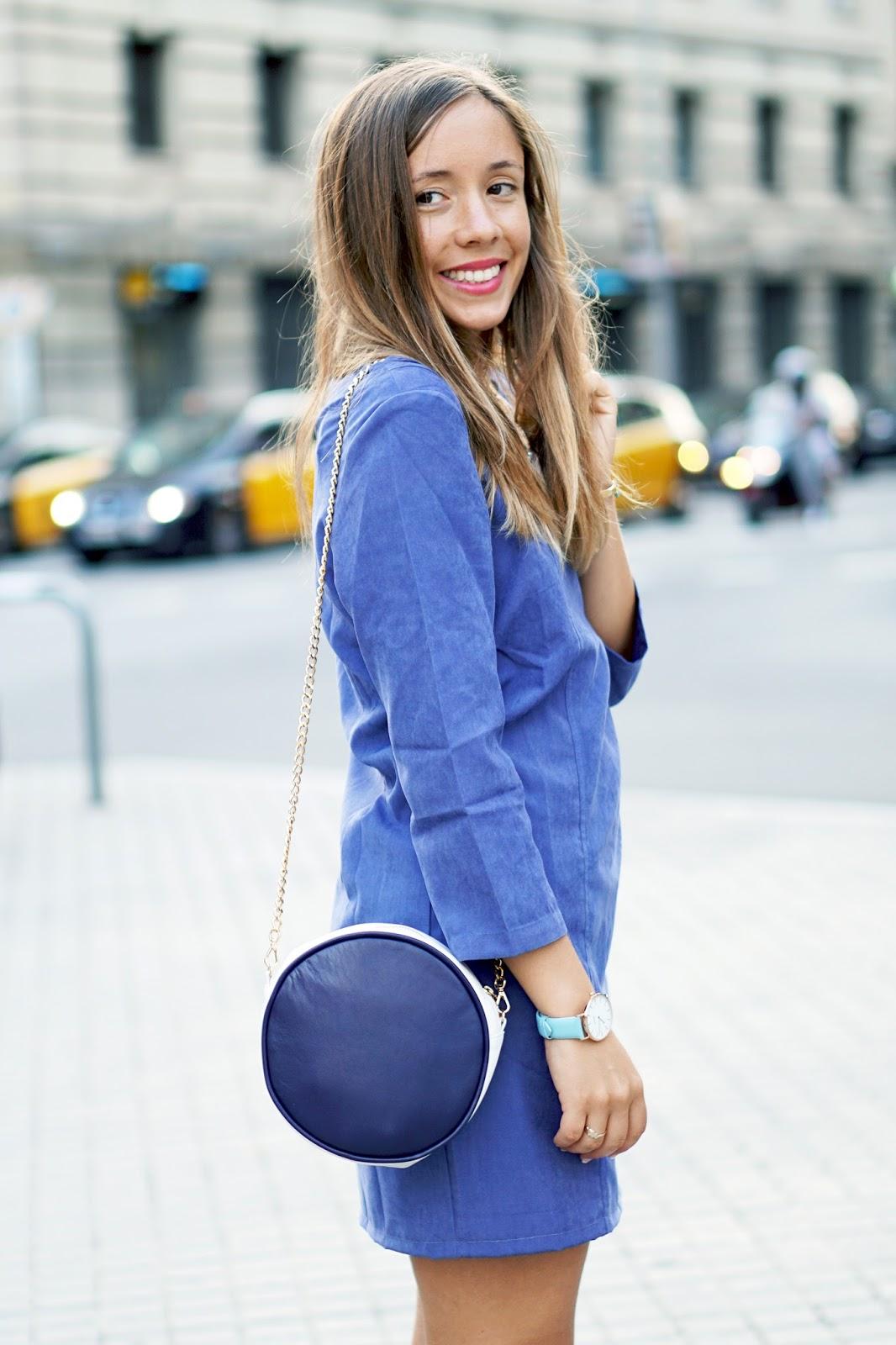 Robe suédine bleue
