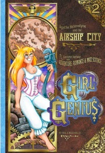 cover art for The Airship City, featuring Agatha wearing nineteenth century underwear and holding a large wrench