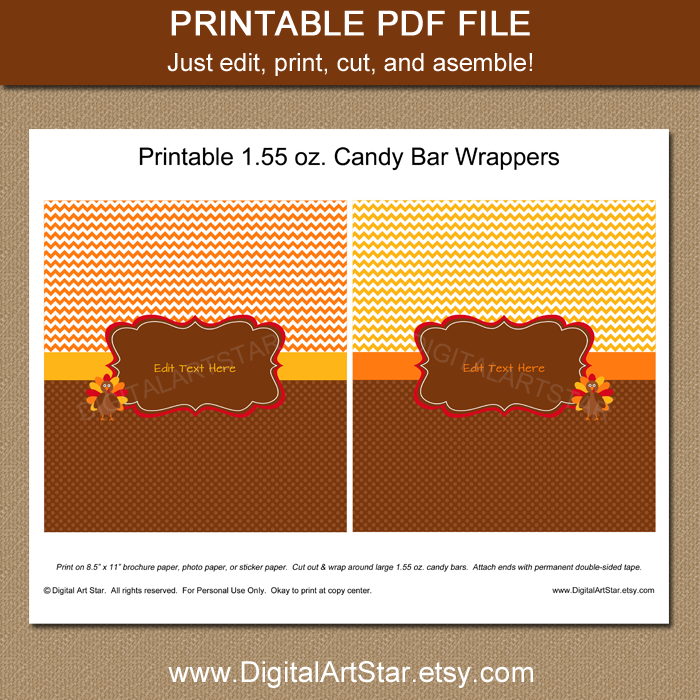 editable Thanksgiving candy wrappers