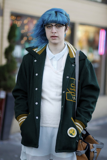 Oly pearce blue hair green letterman jacket Seattle Street Style fashion It's my darlin'