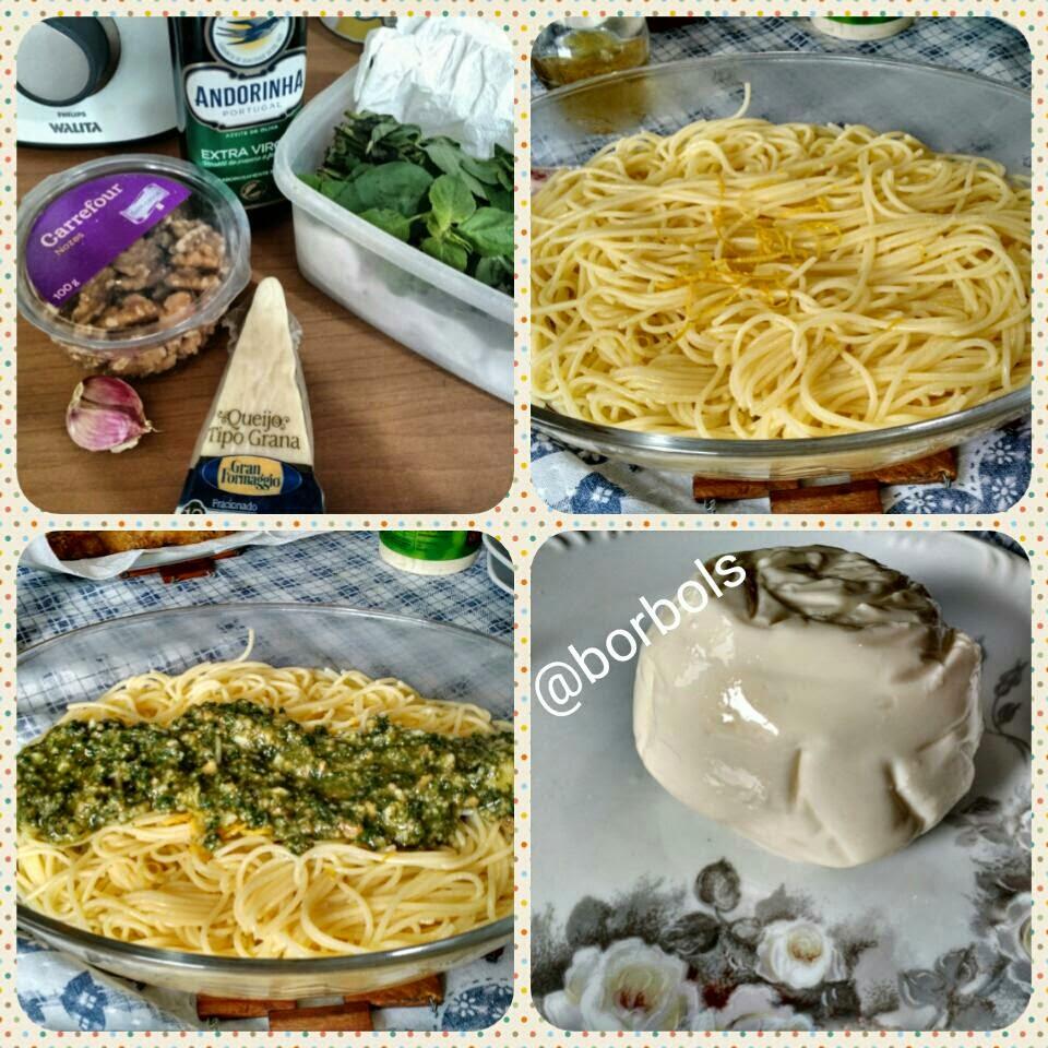 espaguete barilla sem glúten com molho pesto e burrata