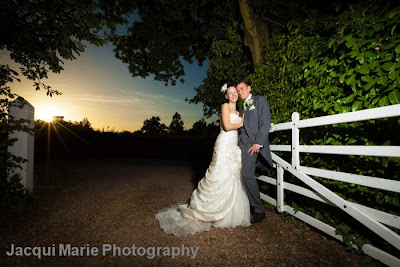 Bride and Groom Portrait, Steeple Court Manor, Botley, Hampshire, sunset