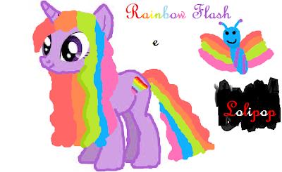 Desenhar poneis no papel ou no paint Rainbow+Flash+e+Lolipop