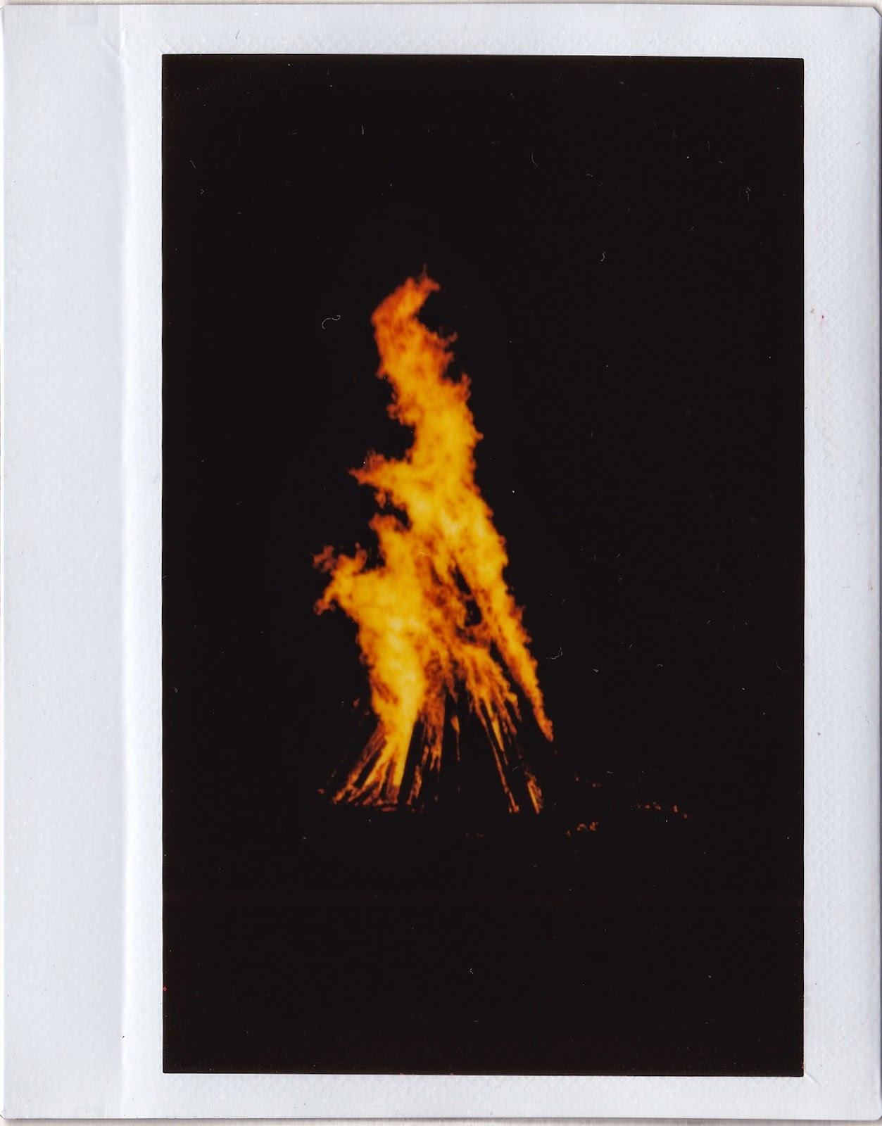polaroid of bonfire