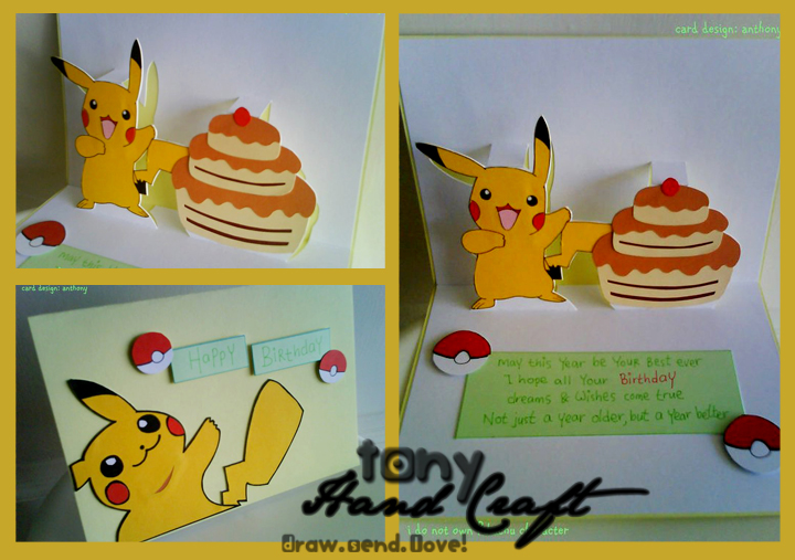 TonyHandCraft Specially Requested and Made Pikachu Pop Out – Birthday Pikachu Card