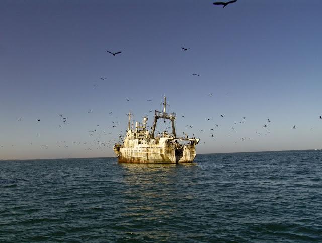 Ghost ship off Walvis Bay, Atlantic Coast of Namibia