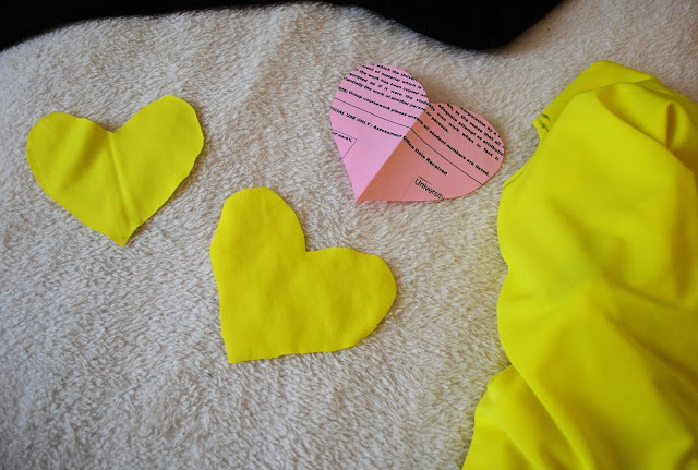 Heart shape elbow patches neon yellow