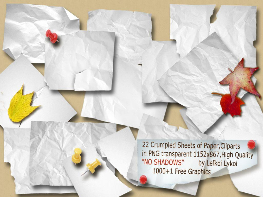 1000+1 free graphics : 22 crumpled sheets of paper cliparts - png