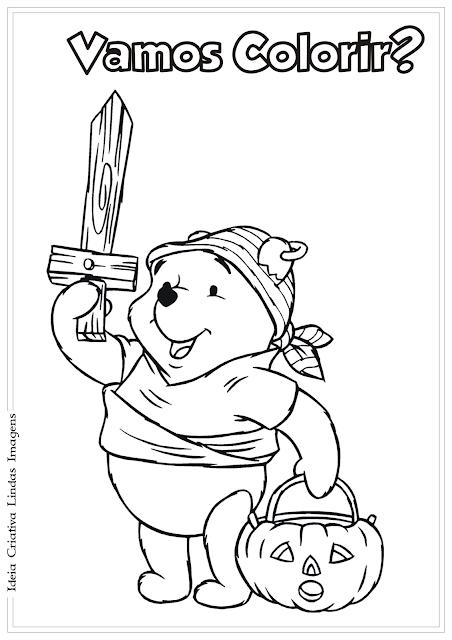 Desenho Ursinho Pooh Halloween para colorir