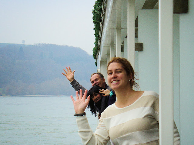 A chance encounter as we sailed through the Wachau Valley in Austria. Suddenly, the 'Viking Social' club emerged from our cabins at the same time to snap some photos of each other. Pictured here are Brittany, JohnnyJet and Natalie.