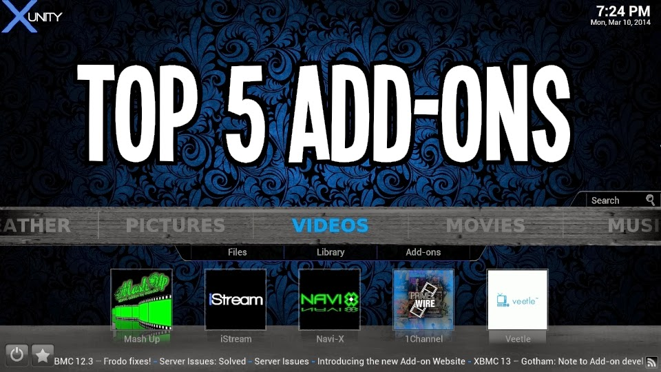 top 5 addons for xbmc