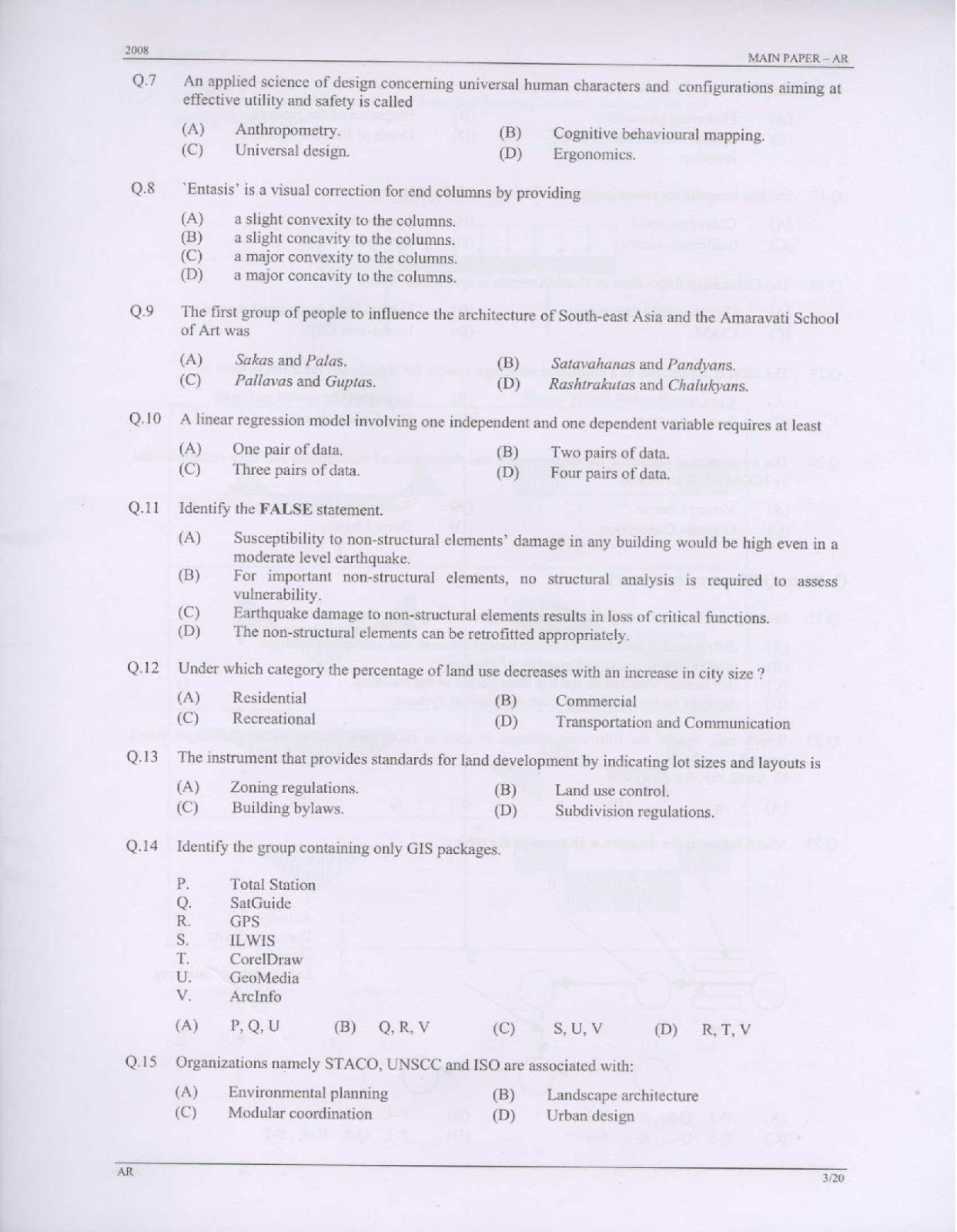 Architecture Design Question Paper gate architecture question bank with answers : gate 2008
