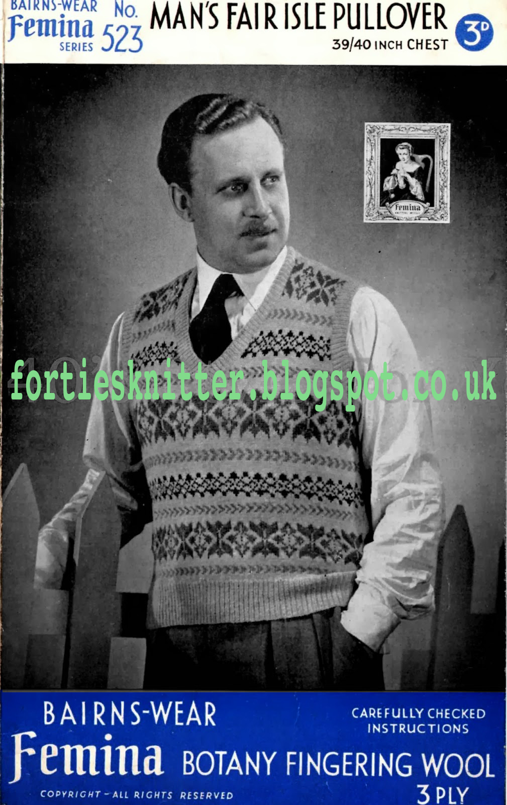 1940's Knitting - Barins Wear Man's Fair Isle Pullover Free pattern